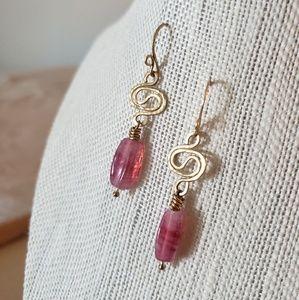 Artisan Pink Drop Earrings